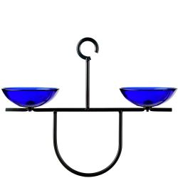 Mosaic Birds Side by Side Poppy Feeder - Cobalt Blue